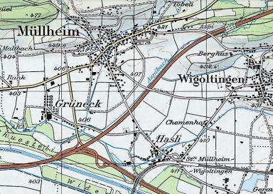 Müllheim 1990 mit Autobahn