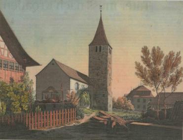 Bild von R. Labhart: Kirche in Müllheim, 1824, eventuell 1834. Tusche gouachiert, 207x270mm. Aus der Bildersammlung; Hans E. Rutishauser.