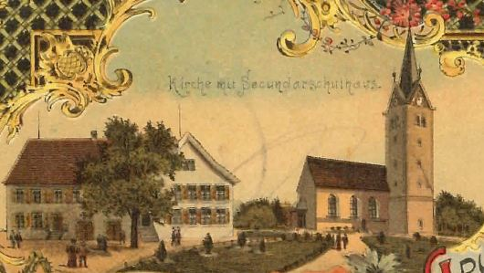 """""""Kurze"""" Kirche, auf eine Postkarte mit Stempel 1899"""