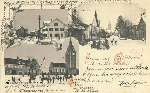 Postkarte, Dorf im Winter 1901