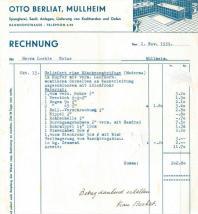 Rechnung, Otto Berliat, Spenglerei,1939