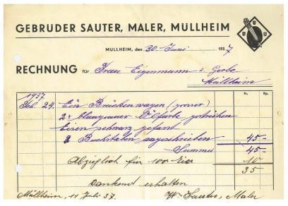 Rechnung, Sauter, Maler 1937
