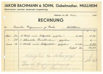 Rechnung, Bachmann, Gabelmacher, 1936
