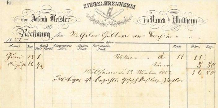 Rechnung, Kessler, Ziegelbrennerei, 1861