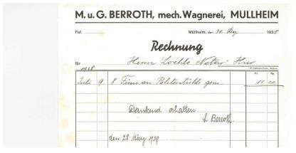 Rechnung, Berrot, Wagner 1938