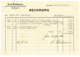 Rechnung, Brühlmann, Sattler, 1939