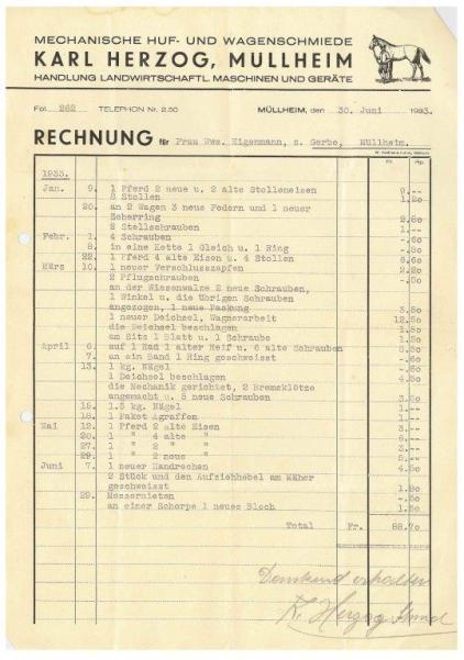Rechnung, Herzog, Schmied, 1933