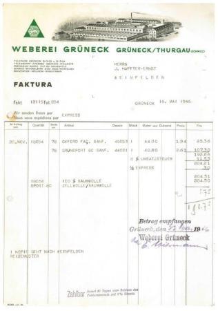 Rechnung, Grüneck, Weberei 1945