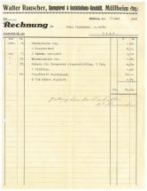 Rechnung, Rauscher, Spenglerei, 1936