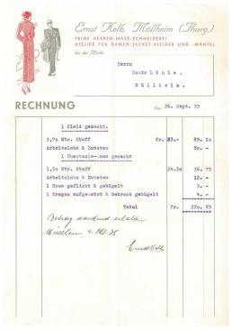Rechnung, Kolb, Schneider, 1935