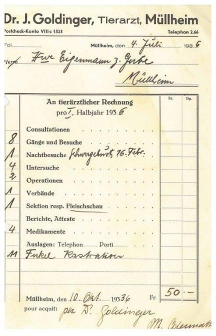 Rechnung, Goldinger, Tierarzt, 1936