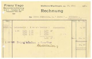 Rechnung, Vago, Bauunternehmung, 1931