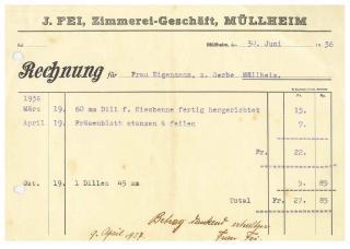 Rechnung, Fei, Zimmerei, 1936