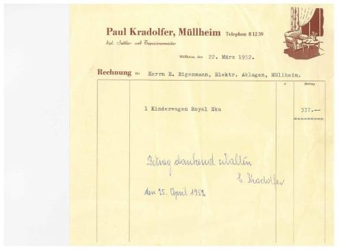 Rechnung, Paul Kradolfer, Sattler