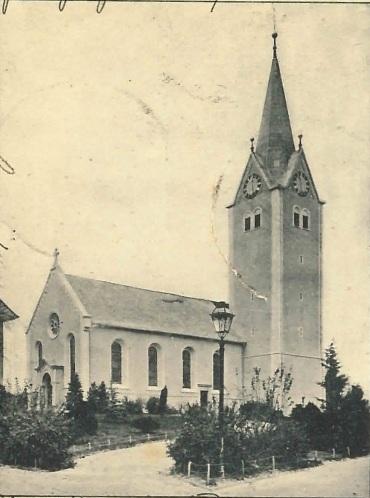 Kirche von Müllheim auf einer Postkarte mit Stempel 1905