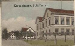 Schulhaus Ochsen_Zeichnung auf einer Postkarte von 1914