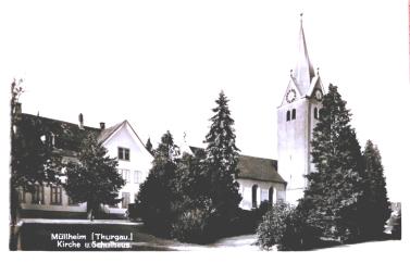 Kirche und Oberes Schulhaus, Postkarte von 1931