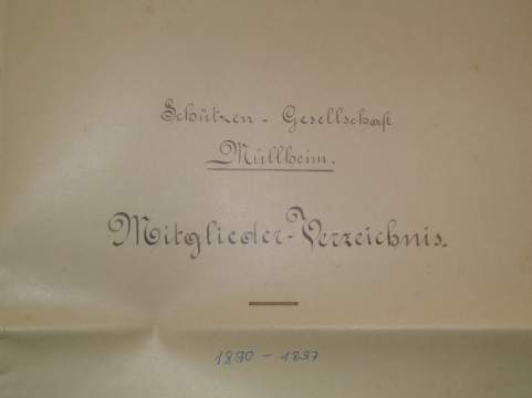 Mitgliederverzeichnis der Schützengesellschaft von Müllheim, Titelblatt